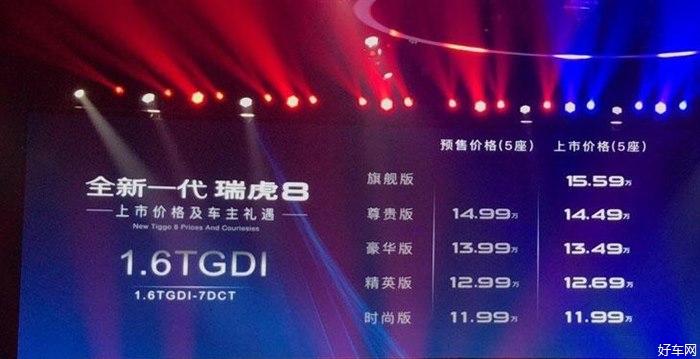 全新一代瑞虎8上市 售价8.88-15.59万元