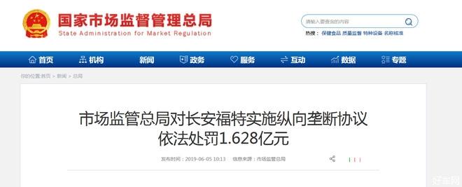 长安福特因背背反垄断法被罚1.628亿元