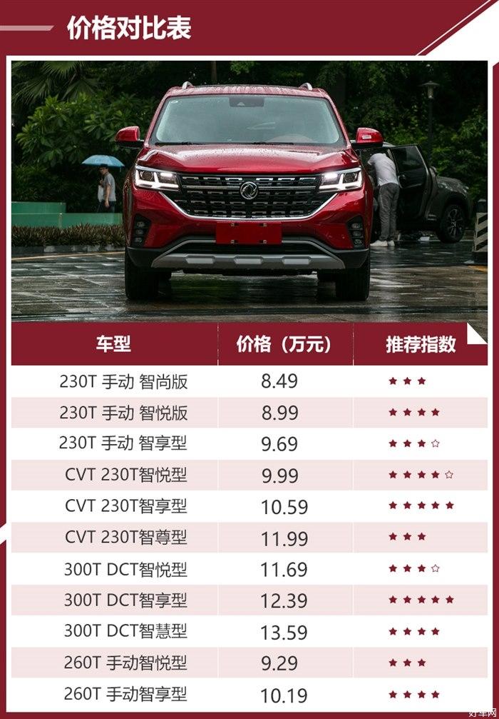 优先选择230T CVT智享型 风行T5购车手册