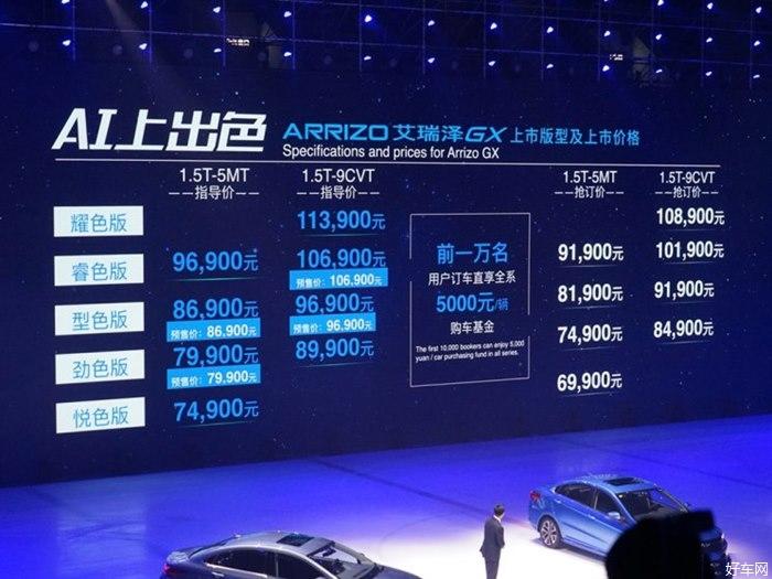 奇瑞艾瑞泽GX正式上市 售7.49-11.39万