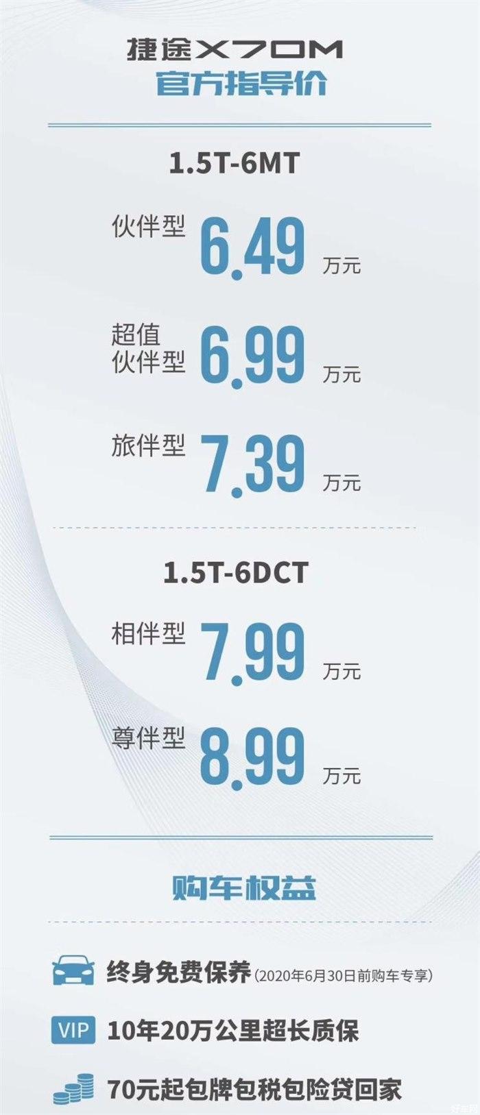 捷途X70M正式上市 售價6.49-8.99萬元